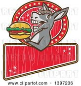 Vector Clip Art of Retro Donkey About to Take a Bite out of a Cheeseburger on a Red Sign by Patrimonio