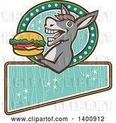 Vector Clip Art of Retro Donkey About to Take a Bite out of a Cheeseburger on a Turquoise Sign by Patrimonio