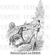 Vector Clip Art of Retro Donkey and Guy Pulling by Prawny Vintage
