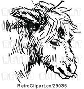 Vector Clip Art of Retro Donkey Face by Prawny Vintage