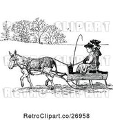Vector Clip Art of Retro Donkey Pulling People in a Cart by Prawny Vintage