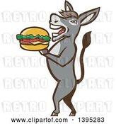 Vector Clip Art of Retro Donkey Standing Upright and About to Take a Bite out of a Cheeseburger by Patrimonio