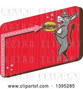 Vector Clip Art of Retro Donkey Standing Upright and About to Take a Bite out of a Cheeseburger on a Red Sign by Patrimonio
