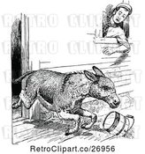 Vector Clip Art of Retro Donkey Storming out of a Barn by Prawny Vintage