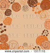 Vector Clip Art of Retro Doodled Brown Orange and Tan Background with Text Space by Vector Tradition SM