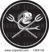 Vector Clip Art of Retro Dorado Dolphin Fish Skeleton and Crossed Spears in a Circle by Patrimonio