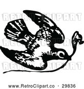 Vector Clip Art of Retro Dove with a Twig by Prawny Vintage
