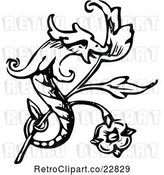 Vector Clip Art of Retro Dragon and Branch Design Element by Prawny Vintage