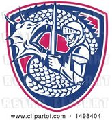 Vector Clip Art of Retro Dragon Battling and Coiling Around St George with a Sword in a Shield by Patrimonio