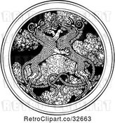 Vector Clip Art of Retro Dragons Entwined over a Medallion of Smoke by Picsburg