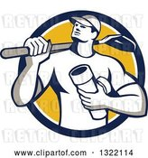 Vector Clip Art of Retro Drainlayer Guy Carrying a Shovel and Pipe in a Blue White and Yellow Circle by Patrimonio