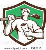 Vector Clip Art of Retro Drainlayer Guy Carrying a Shovel and Pipe in a Brown White and Green Shield by Patrimonio