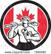 Vector Clip Art of Retro Drainlayer Guy Carrying a Shovel and Pipe in a Canadian Flag Circle by Patrimonio