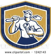 Vector Clip Art of Retro Drainlayer Guy Carrying a Shovel and Pipe in a Shield by Patrimonio