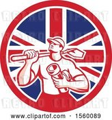 Vector Clip Art of Retro Drainlayer Guy Carrying a Shovel and Pipe in a Union Jack Flag Circle by Patrimonio