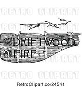 Vector Clip Art of Retro Driftwood Fire Sign and Seagulls by Prawny Vintage