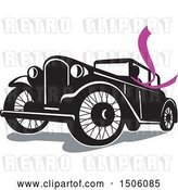 Vector Clip Art of Retro Driver Wearing a Long Purple Scarf in a Coupe Automobile by Patrimonio