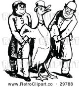 Vector Clip Art of Retro Duck and Men by Prawny Vintage