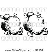 Vector Clip Art of Retro Duck Butts by Prawny Vintage