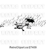 Vector Clip Art of Retro Ducks Running in the Rain with an Umbrella by Prawny Vintage