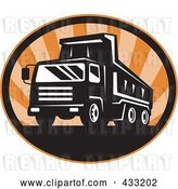 Vector Clip Art of Retro Dumptruck Logo with Orange Rays by Patrimonio