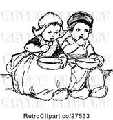 Vector Clip Art of Retro Dutch Children Eating by Prawny Vintage