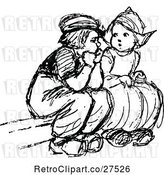 Vector Clip Art of Retro Dutch Children Sitting by Prawny Vintage