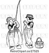 Vector Clip Art of Retro Dutch KChildren Stringing a Fishing Pole by Prawny Vintage