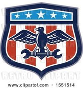 Vector Clip Art of Retro Eagle and Spanner Wrench in an American Shield by Patrimonio
