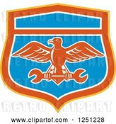 Vector Clip Art of Retro Eagle Flying with a Spanner Wrench in a Blue Red Orange and White Shield by Patrimonio