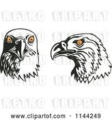 Vector Clip Art of Retro Eagle Heads with Orange Eyes by Patrimonio