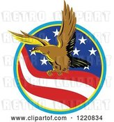 Vector Clip Art of Retro Eagle in a Circle of an American Flag by Patrimonio