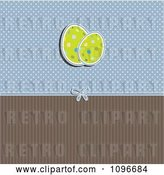 Vector Clip Art of Retro Easter Egg Background with Blue Polka Dots and Brown Stripes by KJ Pargeter