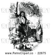 Vector Clip Art of Retro Ebenezer Scrooge Being Visited by the Ghost of Christmas Present by Prawny Vintage