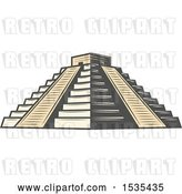 Vector Clip Art of Retro El Castillo Pyramid, in Style by Vector Tradition SM