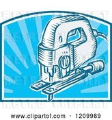 Vector Clip Art of Retro Electric Jigsaw Tool over Blue Rays by Patrimonio