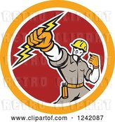 Vector Clip Art of Retro Electrican Holding up a Fist and Bolt in a Circle by Patrimonio