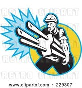 Vector Clip Art of Retro Electrician Carrying a Giant Plug by Patrimonio