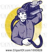 Vector Clip Art of Retro Electrician Carrying a Heavy Plug by Patrimonio
