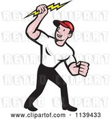 Vector Clip Art of Retro Electrician Holding a Bolt by Patrimonio