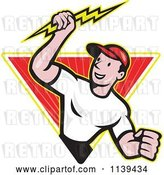 Vector Clip Art of Retro Electrician Holding a Bolt in a Ray Diamond by Patrimonio