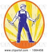 Vector Clip Art of Retro Electrician Holding Bolts in an Oval of Rays by Patrimonio