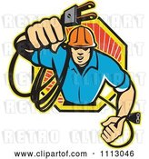 Vector Clip Art of Retro Electrician Holding out a Plug in an Octogon by Patrimonio