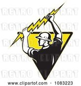 Vector Clip Art of Retro Electrician Holding up a Bolt on a Yellow Triangle by Patrimonio