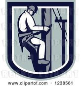 Vector Clip Art of Retro Electrician Lineman in a Shield by Patrimonio