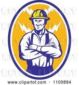 Vector Clip Art of Retro Electrician or Construction Worker with Folded Arms over an Oval of Bolts by Patrimonio