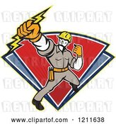 Vector Clip Art of Retro Electrician or Lineman Holding a Bolt over Red and Blue Triangles by Patrimonio