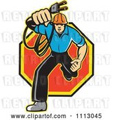 Vector Clip Art of Retro Electrician Running with a Plug over an Octogon by Patrimonio