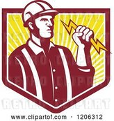 Vector Clip Art of Retro Electrician Worker Guy Holding a Bolt over a Ray Crest Shield by Patrimonio