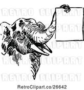 Vector Clip Art of Retro Elephant Holding a Sign with Its Trunk by Prawny Vintage